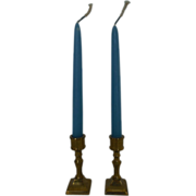 """Pair Beautiful Vintage Brass Doll Candlesticks (2 3/4"""" H) with Candles (7 3/8"""" H)"""