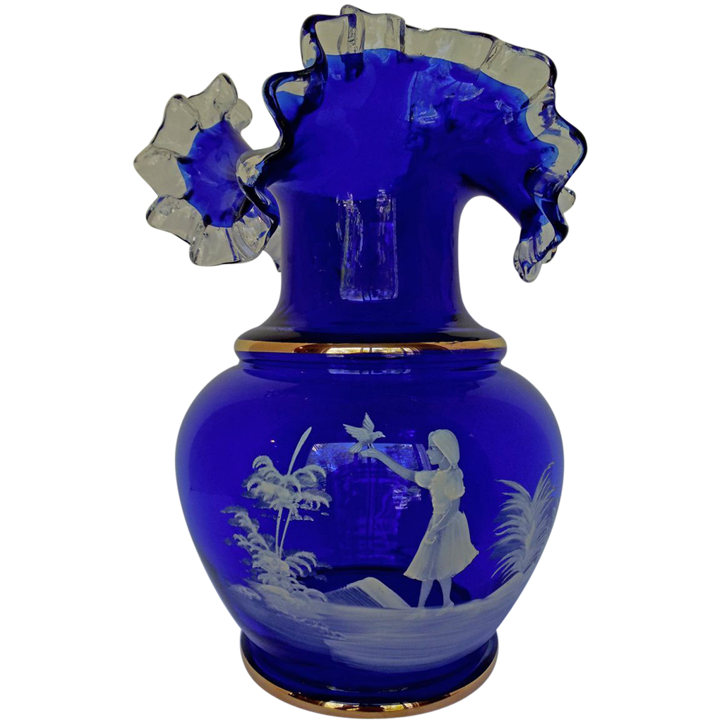 Vintage Mary Gregory Style Cobalt Glass Vase Ruffled Edge ... Vintage Ruffled Edge Glass Vases For Sale
