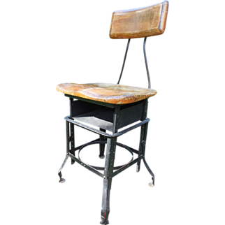 1920s Rare Industrial Chair with Book Shelf Edward L. Koenig Chicago, IL