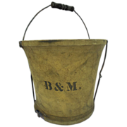 Vintage B & M Boston & Maine Railroad Handy Folding Pail Co Canvas Bucket