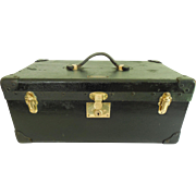 Early 20th C Berg Automobile Picnic Trunk with Pullout Tray, Brass Hardware, Leather Corners .