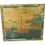 Antique C 1870s Japanese Tea Chest Crate with Scenic Ukiyo-e Wood Block Prints from ...