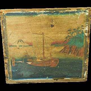 Antique C 1870s Japanese Tea Chest Crate with Scenic Ukiyo-e Wood Block Prints from Yokohama Lanercost Ship