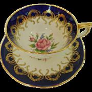John Aynsley & Sons Bone China Cobalt Gilt Filigree Pink Roses Pattern 2146 Teacup Saucer Set