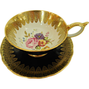 Exquisite Hand Painted John Aynsley & Sons 1939+ Floral & Gilt Filigree on Black Teacup & ...