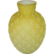 Antique Victorian Brilliant Lemon Yellow Diamond Quilted Coralene Glass Beaded Gilt Rim Vase