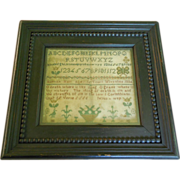 Antique 1834 Wonderful Sampler by Hannah Ham Aged 12 Wivenhoe, England with Flowers, Birds, an