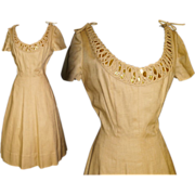 Vintage 1950s Dress . New Look . Couture  . Designer  . Herbert Sondheim
