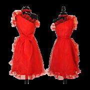 Vintage 1950s Dress  .  Red  .  50s . Dress Dynamic One Shoulder Asymmetrical Chiffon