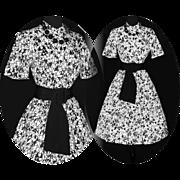 Vintage 1950s Dress  .  Novelty Print  .  50s Dress  .  Garden Party Couture Black White