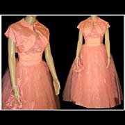 Vintage 1950s Dress .  50s Gown .  Strapless  .  Bolero  . Matching Purse .  XS