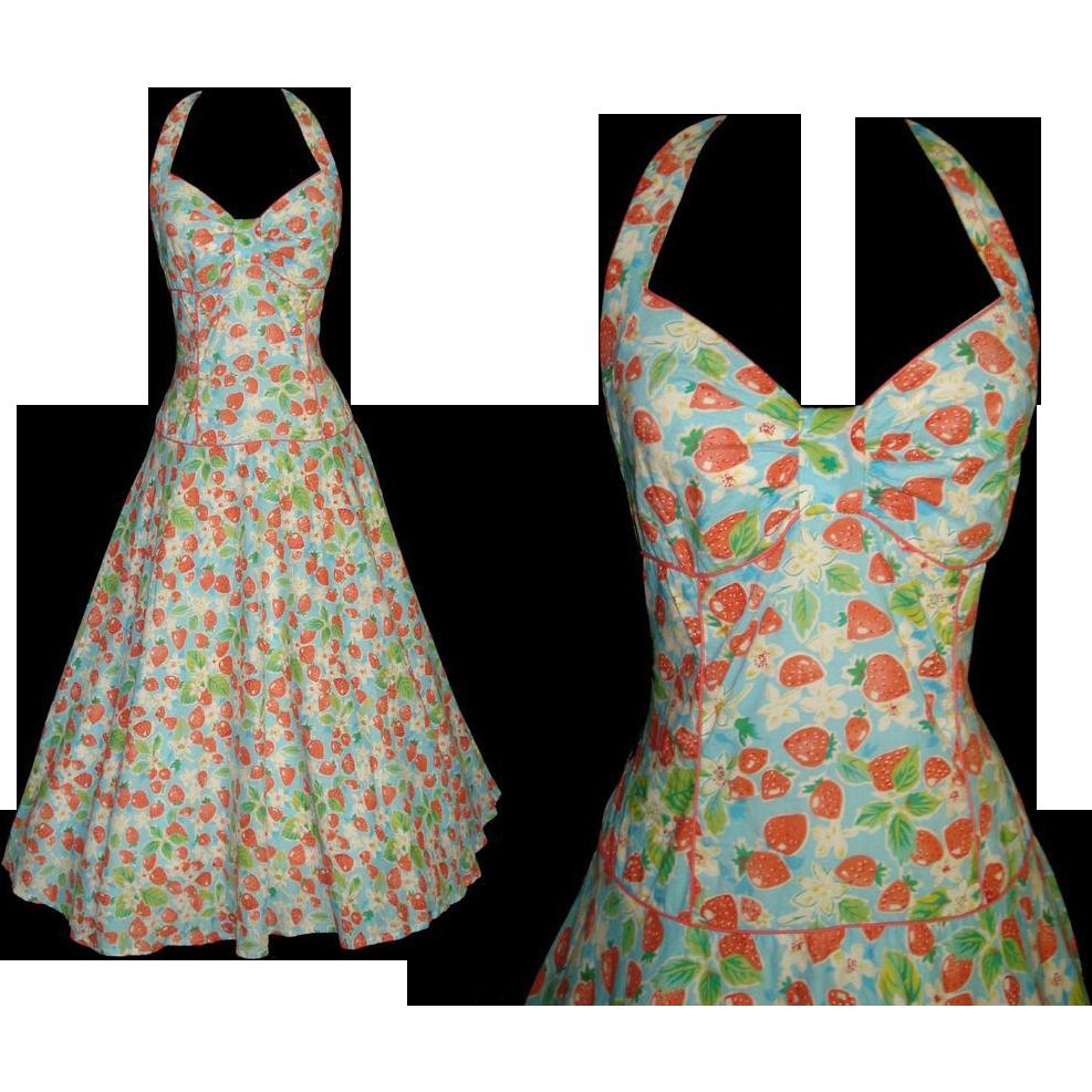 Vintage 1950s Dress . 50s Halter Dress . Strawberries . Mad Men . Garden Party .