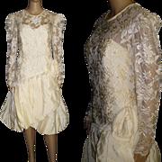 Vintage 1980s Dress . Designer Nancy Bracoloni . Vintage Wedding Dress . Cocktail Party Dress