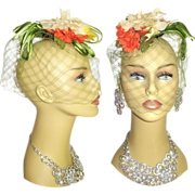 SOLD Vintage 1960s Hat . High Fashion . Wedding Veil . Hollywood Garden Party