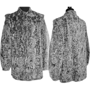 Vintage 1960s Coat . Faux Mongolian Lamb Coat . Silver Stoller Coat.