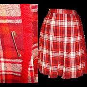 1950s Skirt . Red . Wool