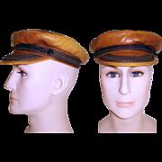 Vintage Greek Fisherman's Cap . Mens Hat . Leather . Fisherman's Cap
