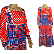 Vintage 1960's Dress . Maxi . Bohemian , Red . White . Blue . Cotton . Patriotic . Embroidered