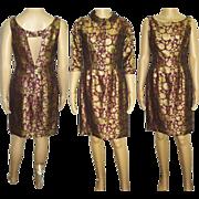 Vintage 1950's Dress . Bolero Jacket . Purple . Gold Brocade . Hourglass Couture Femme Fatale