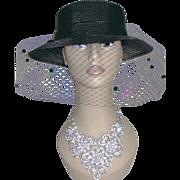 Vintage 1970s Hat NOS Wedding Veil Designer Dress Femme Fatale High Fashion Hollywood Garden .