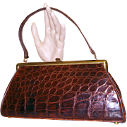 SOLD Vintage 1950s purse // 50s // handbag // Faux Alligator // rockabilly swing white bombshe