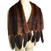 Fabulous 1940s Mink Collar With Tails . Stole . Real Mink . Femme Fatale . Mink Scraf