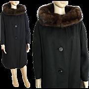 Vintage 1960s Coat// 60s Coat//Mink Collar//Designer//Femme Fatale//Jackie Kennedy//Levine's