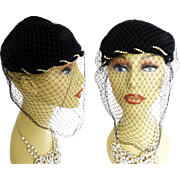 Vintage 1940s Hat // Veil // Black//Swirling Pearls//40s hat/Courture