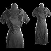 Vintage 1950s Dress . 50s dress . NOS . Black . Hourglass