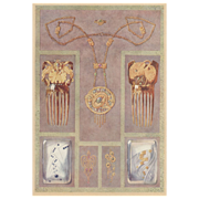 Art Nouveau 1900 Chromolithograph of jewelry,hair combs,silver compacts