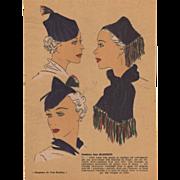 Vintage Art Deco 1936 hat fashion pochoir