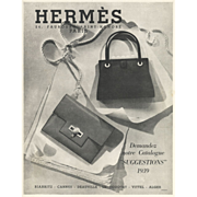 Original Vintage French Hermes Pocketbook Fashion Print