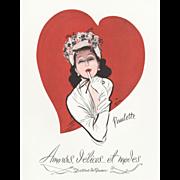 SALE Original Vintage French Print for your Valentine