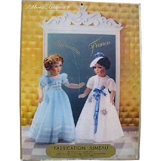 Very Rare Large 1938 Doll Advertisement of French Dolls by SFBJ marked Jumeau (Princesses Elizabeth & Margaret)