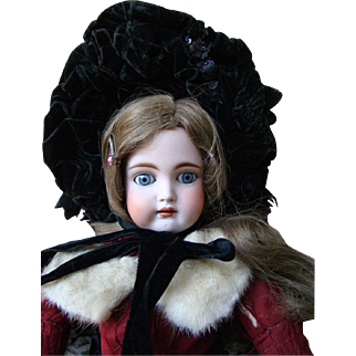 Beautiful Bisque Head German Doll with Original Clothing 20 1/2 inches