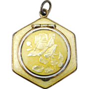 """Vintage Art Deco Sterling Silver & Yellow Guilloche Enamel Rose Compact Pendant, Marked """""""