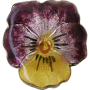 Tiny Antique Sterling Silver & Enamel Pansy Brooch Pin, Purple & Yellow
