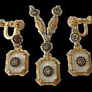 Vintage Art Deco Camphor Glass Necklace & Dangle Screw-Back Earrings Set, Gold Tone w/ Black .
