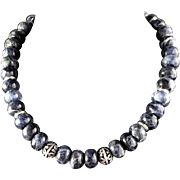 Blue Sodalite necklace with silver tone beads and disks