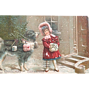 SOLD Christmas card embossed with design, post mark 1908