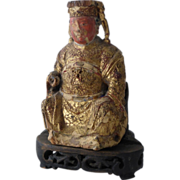 Antique Chinese Gilt Lacquer & Polychrome Wood Figure  of Seated Guan Di God of War
