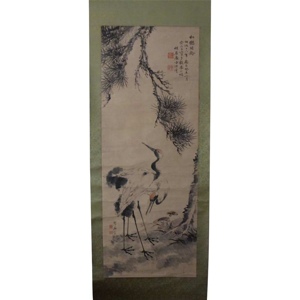 Antique Japanese Scroll: Fine Antique Japanese Nanga Scroll Painting Mori Kinseki 森
