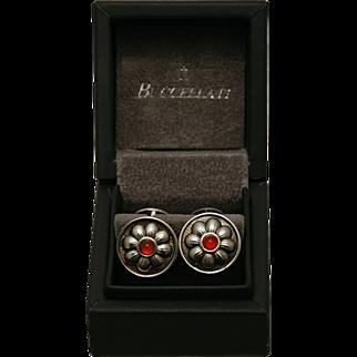 SALE Buccellati daisy pattern sterling silver cuff links with red jasper