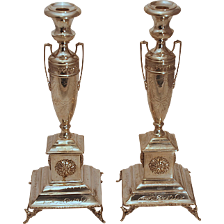 SALE Pair of Austrian Sterling Silver Candlesticks