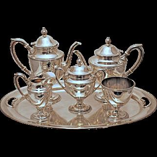 SALE 5 Piece Sterling Silver Tea Service in Paul Revere Style