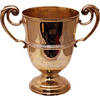 SALE Early English Gilt Sterling Silver Two-Handled Presentation Cup