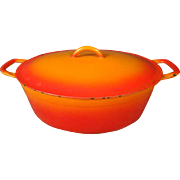 """Vintage Descoware Red Flame 11"""" Oval Cast Iron Casserole Dish W/Lid ; OLD"""