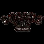 "Avon 16-Piece Glassware Set ""Cape Cod-Ruby"" Pattern Design"