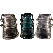 3 x Telephone Pole Insulators. Two are Hemingray 17 and the green insulator is an ...