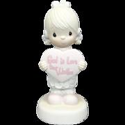 "Enesco Precious Moments ""God Is Love Dear Valentine"" Ceramic Figurine"
